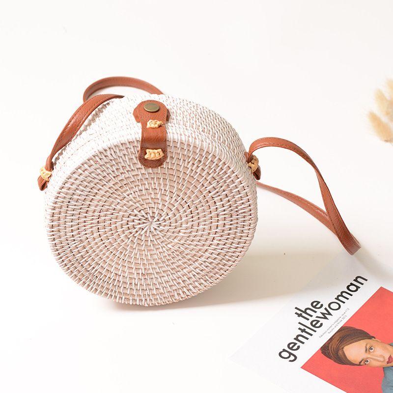 Caker Summer Woven Straw Bag Rattan Brown Black White Bohemia Beach Bag Handmade Circle Messenger Bag Butterfly Star Bags