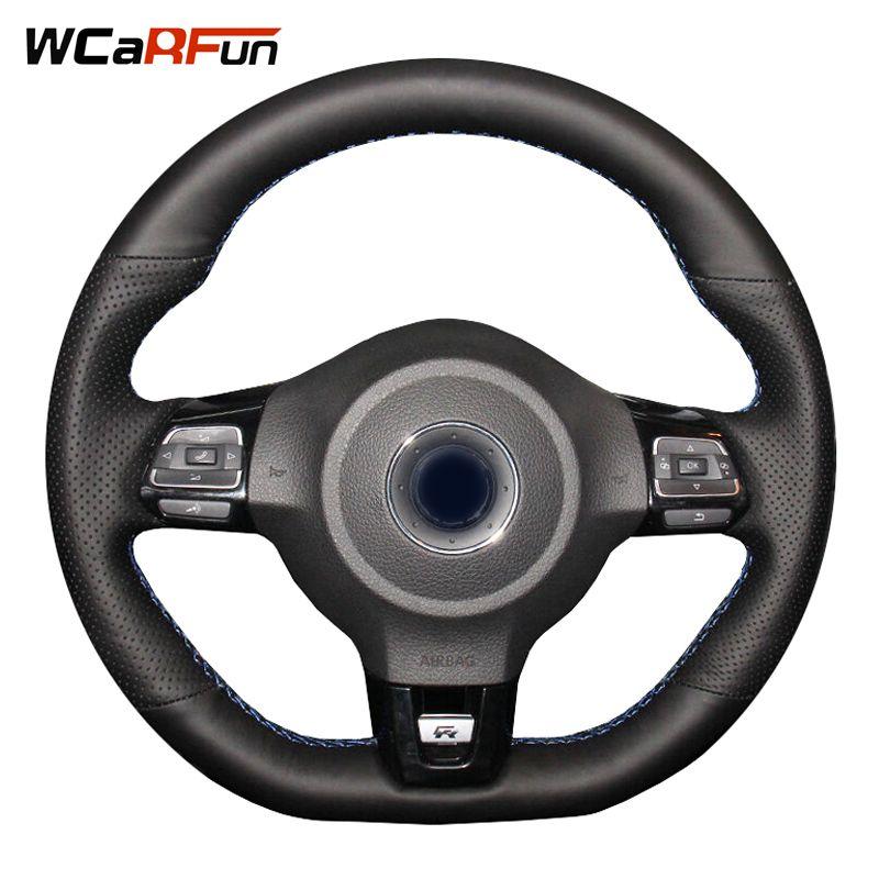 WCaRFun Black Leather Car Steering Wheel Cover for Volkswagen Golf 6 GTI MK6 VW Polo GTI Scirocco R Passat CC R-Line 2010