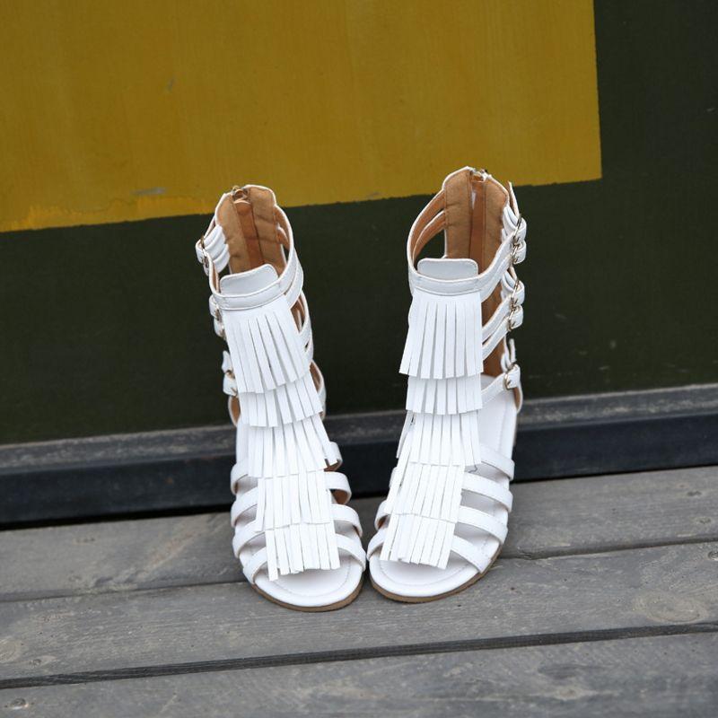 Enfants été 2019 filles princesse chaussures grande boîte à franges bottes cool fille creux bout ouvert sandales Roman