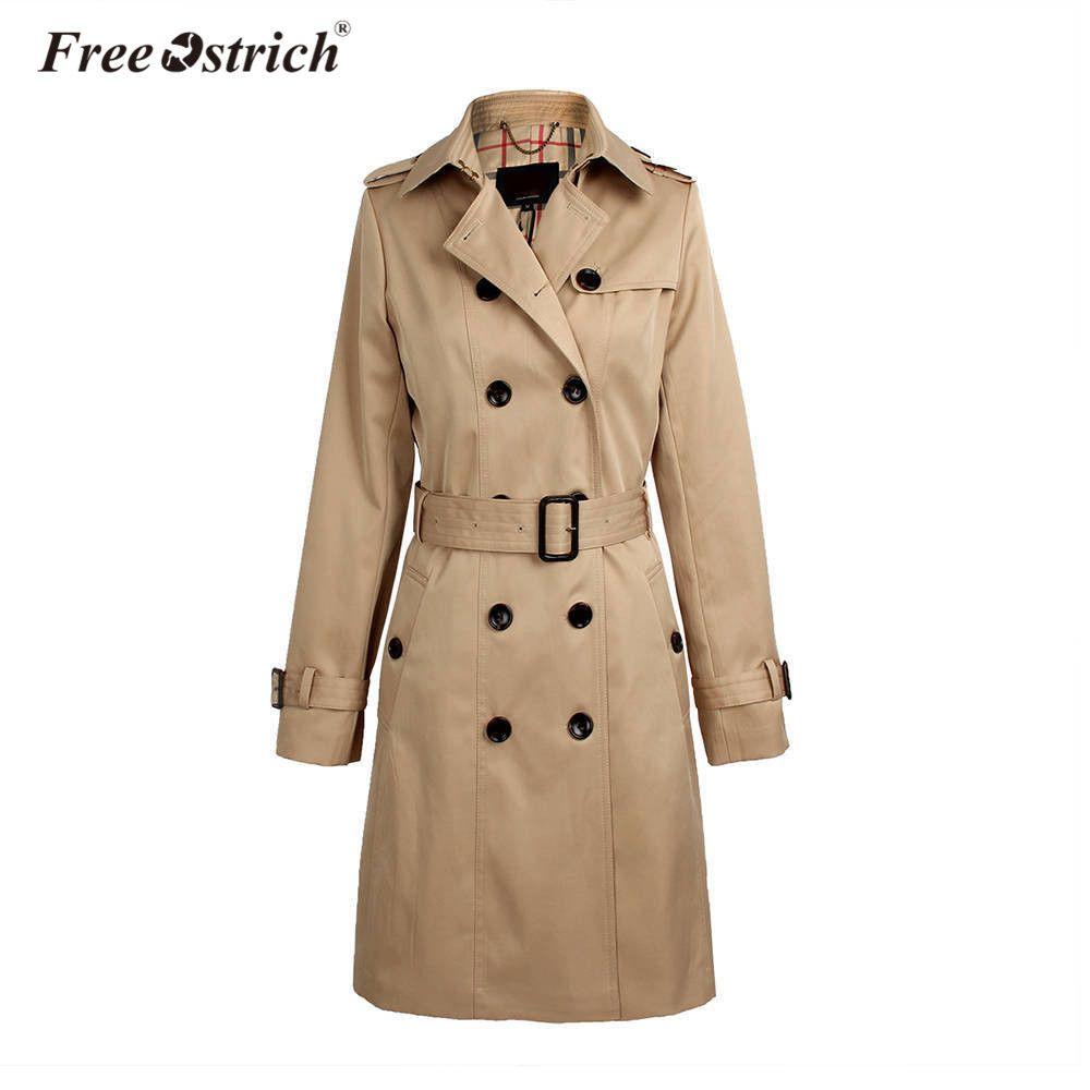 Freier Ostrich Regenmantel Wasserdichte 2018 Herbst Neue High Fashion Marke Frau Zweireihiger Trenchcoat Mantel Business Oberbekleidung