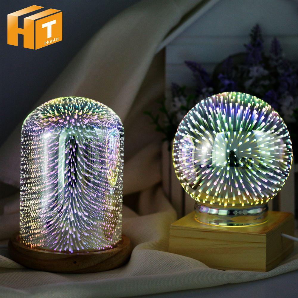 3D Illusion Night Light Oval Shaped LED Table Lamp 3D Meteor/Fireworks/Star/Love Heart Decorative Lamp USB Novelty Light