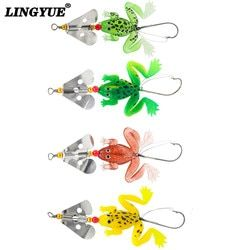 2014 New frogs Fishing Lure Set 4pcs/LOT Rubber Soft Fishing Lures Bass SpinnerBait spoon Lures carp fishing tackle