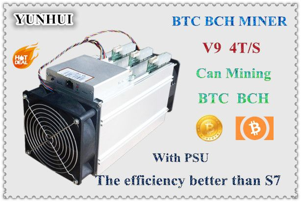 YUNHUI AntMiner V9 4T/S Bitcoin Miner (with power supply) Asic Miner Newest 16nm Btc Miner Bitcoin Mining Machine Better Than S7