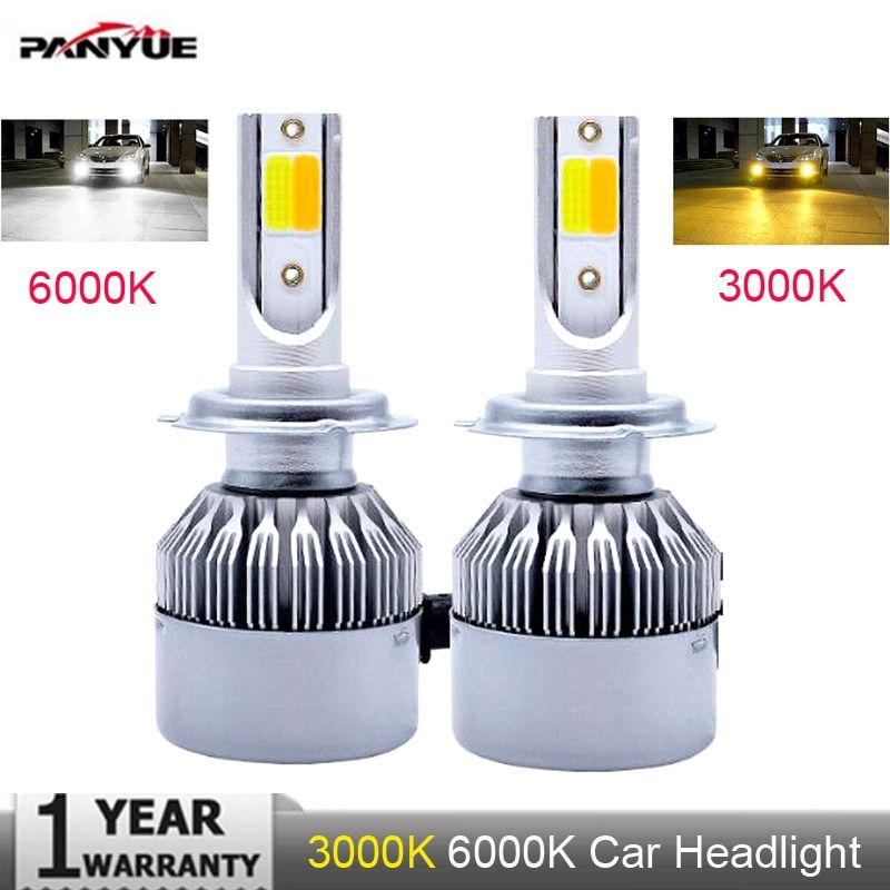 Muxall Super bright Auto H7 H11 LED Car Headlight 9012 H1 H3 880 881 H27 H4 LED Dual Color Headlight Kit 3000K 6000K