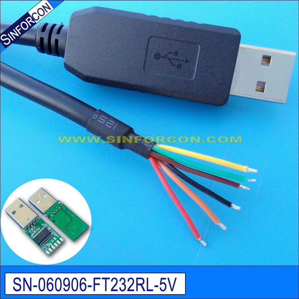 Ftdi ft232r usb uart ttl 5 v câble adaptateur d'extrémité pour câble flash ttl-232r-5v-we