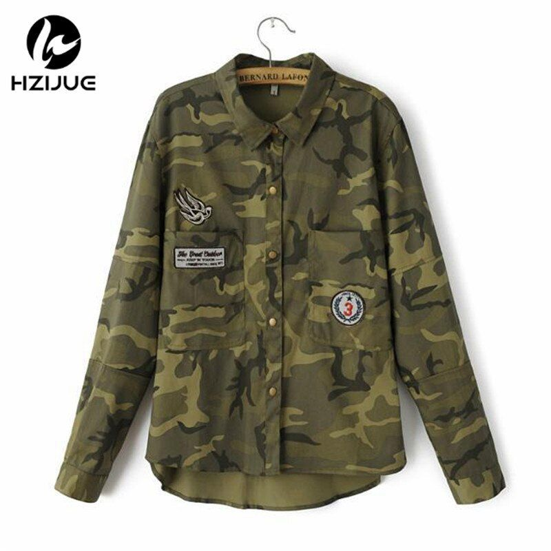 HZIJUE 2018 Fashion Long Sleeve chaqueta militar Coat Women <font><b>Green</b></font> Military Jackets Slim Embroidered Women Jacket Blouses Coats