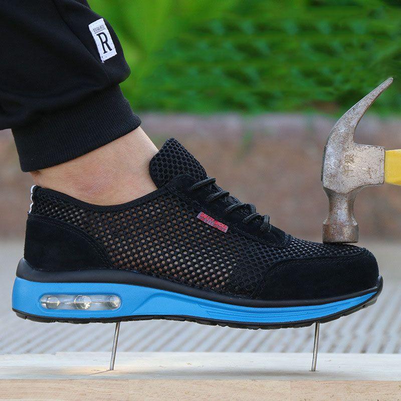Baskets homme coussin d'air chaussures de sécurité homme léger acier orteil anti-fracassant piercing travail maille unique chaussures de sport NNT-17