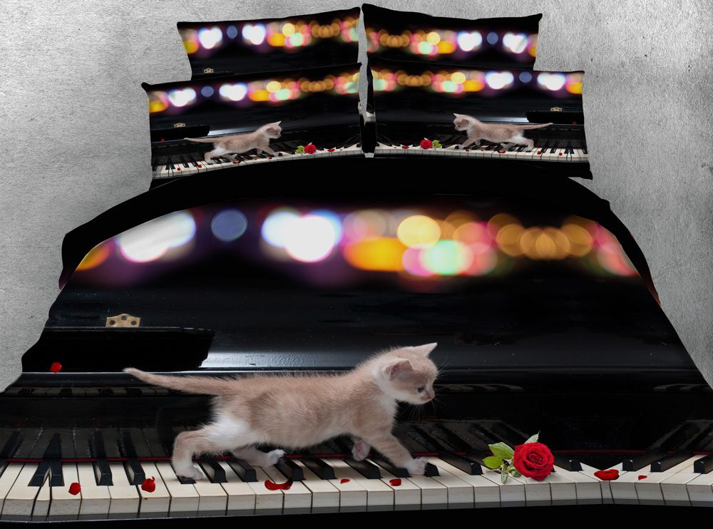 Dreamlike Piano Cats 3d printed comforters bedding sets quilt/duvet cover bed sheets twin full queen king size 500TC woven Girl