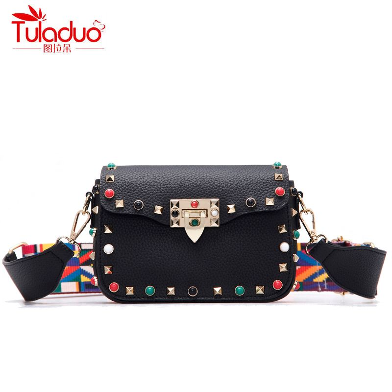 High Quality PU Leather Women Crossbody Bags Fashion Rivet Design Women Shoulder Bags Color Shoulder Strap Ladies Handbags 2018