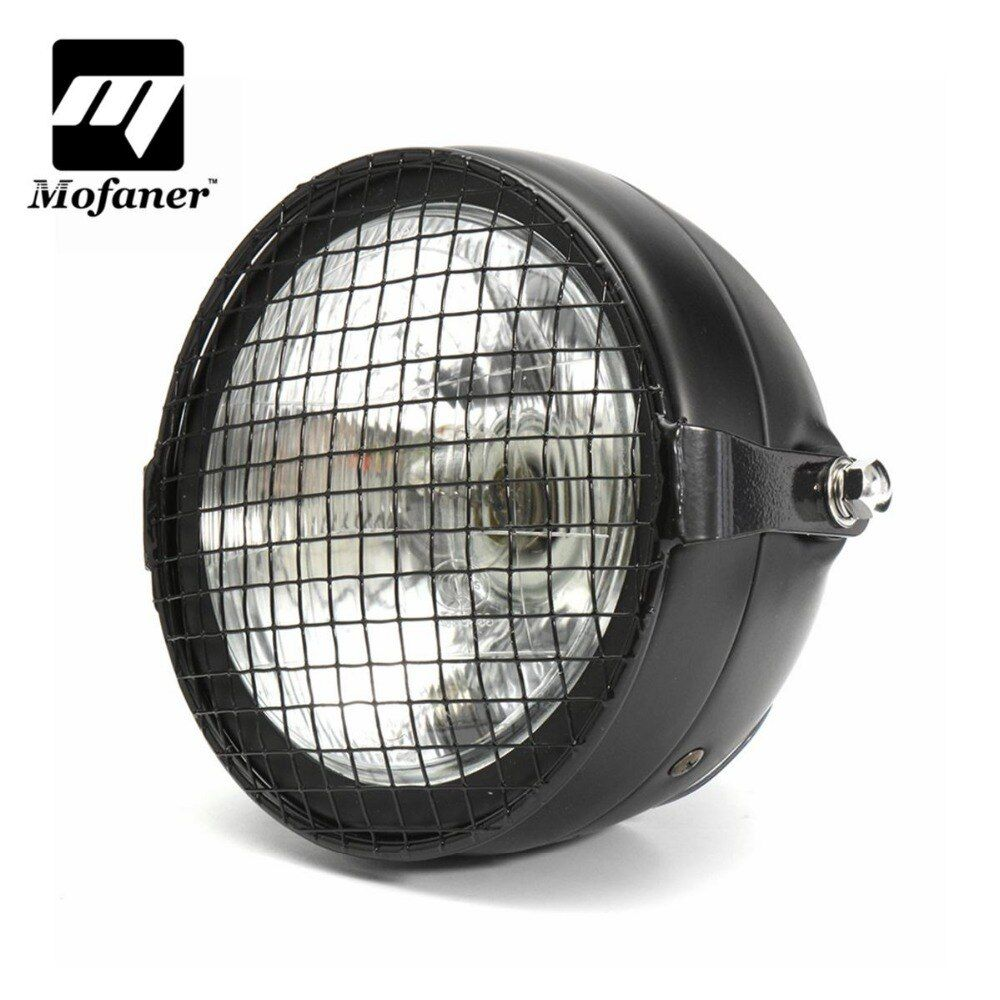 7 Inch LED Universal Retro Style Motorcycle Headlight Grill Mask Head Lamp For Harley-Bobber Dyna