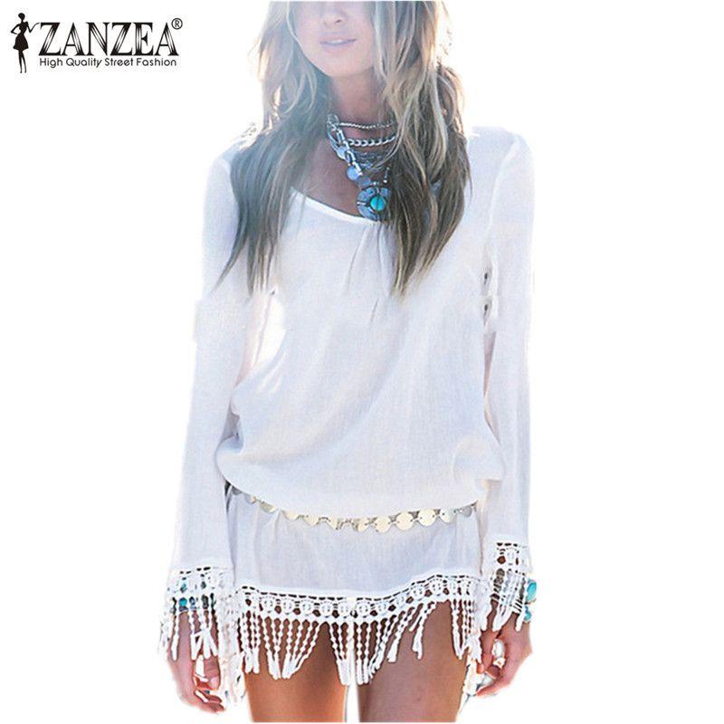 2018 ZANZEA Bohemian Women Summer Mini Dress Sexy O Neck Lace Tassel Chiffon Beach Dresses Casual Loose Short Vestido Robe <font><b>Femme</b></font>