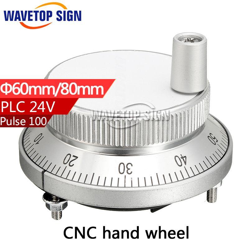 CNC electronic hand wheel handwheel Silver color diameter  60mm Pulse number 100  voltage  24v 4pins NPN/PNP MODLE