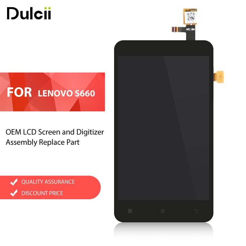 Dulcii OEM for Lenovo S660 LCD Screen and Digitizer Assembly Replacement Part for Lenovo S 660 LCD Screen LCDs Black