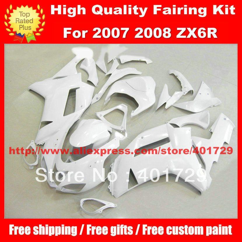 Helle weiße motorrad körperarbeit für Kawasaki Ninja ZX6R 2007 2008 ZX 6R 07 08 ZX6R 07 08 kostenlose geschenke Abs-kunststoff verkleidung kit
