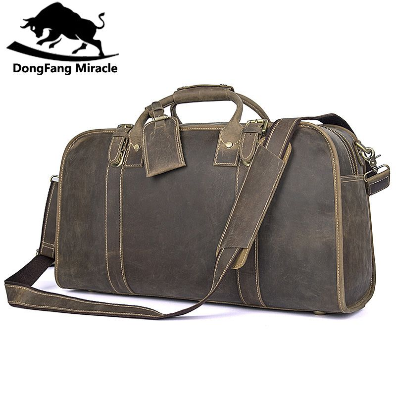 DongFang Miracle Men Genuine Crazy Horse Leather High capacity Men's Travel Duffel Bag Huge 21 Inches Vintage bags