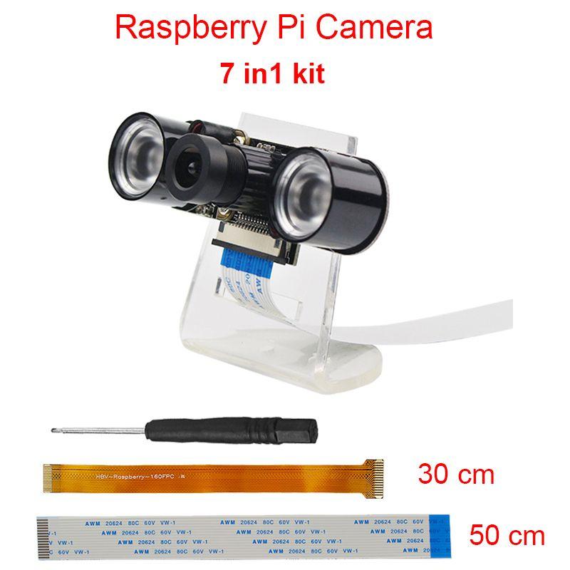 Raspberry Pi 3 Kit Caméra 5MP Focale Réglable Nuit Version Caméra + acrylique Titulaire + IR Lumière + FFC Câble pour Raspberry Pi Zéro W