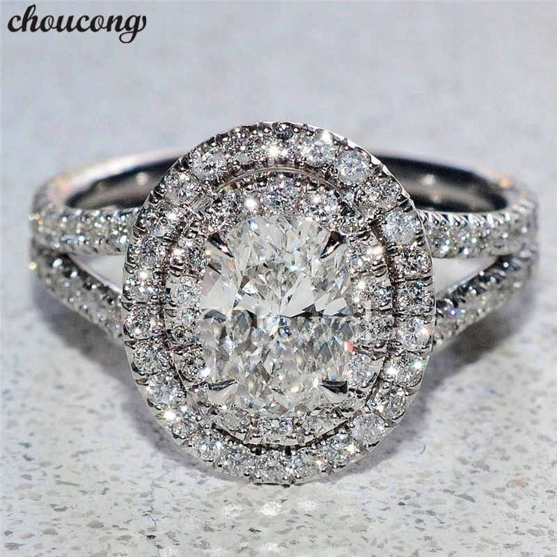 choucong Luxury Real Soild 925 sterling Silver ring Oval cut AAAAA Zircon Engagement Wedding Band Rings For Women men Bijoux