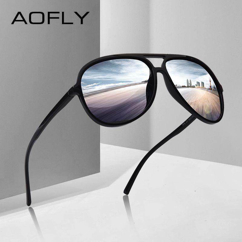 AOFLY BRAND DESIGN Ultralight TR90 Pilot Sunglasses <font><b>Men</b></font> Polarized Driving Sun glasses Male Outdoor sports Goggles UV400 AF8080