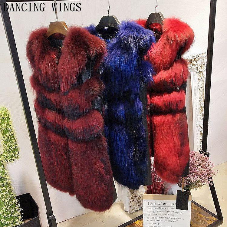80CM Winter Women Natural Fur Vest Waistcoat Real Raccoon Dog Fur Genuine Sheepskin Vest Female Sleeveless Jackets