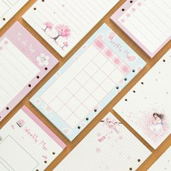 A6 A5 Warna-warni Isi Ulang Spiral Warna-warni Bunga Sakura Notebook Halaman Batin 6 Lubang Perencana Kertas Filler Hadiah Kreatif Alat Tulis