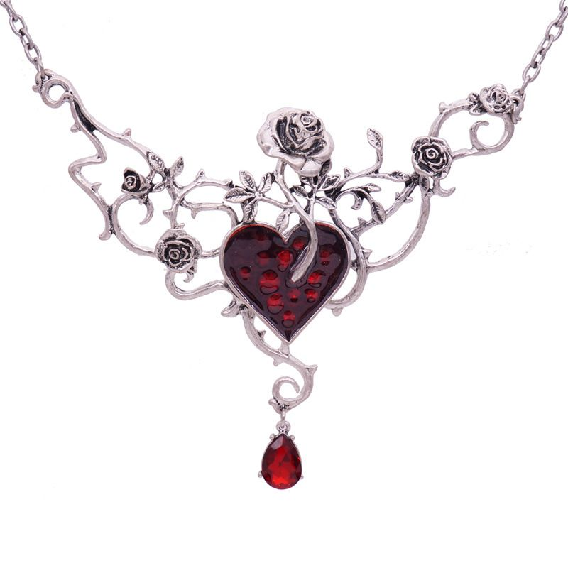 English Halloween Gothic Punk exaggerated rose drop oil red gem necklace