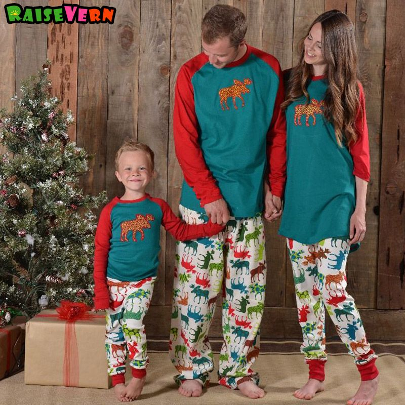 Christmas Family Matching Outfits Parents Kids Adult Baby Clothes Long Sleeve Elk Moose Pullover Pajamas Sleepwear Homewear Suit