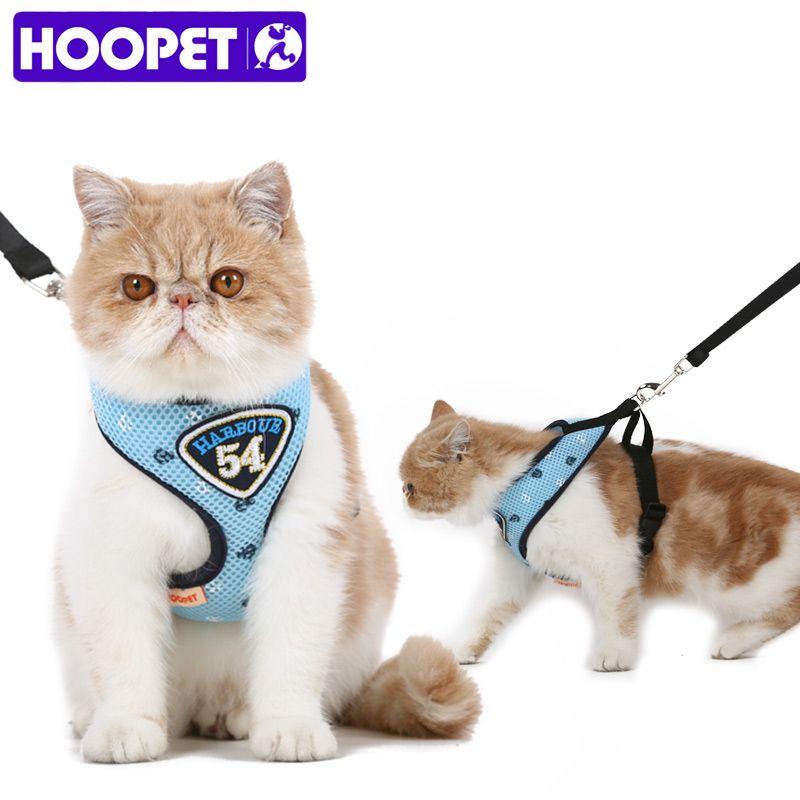 HOOPET Pet chat gilet harnais laisses costume bleu marine harnais Pet chat chiot Pet chat petit animal