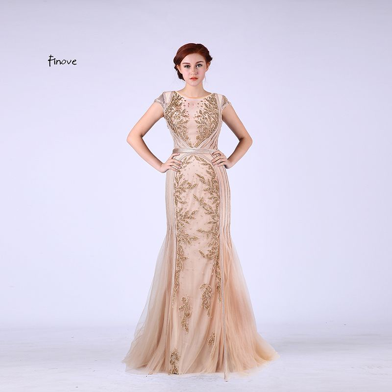 Finove Elegant Mermaid Evening Dresses Long 2017 New with Scoop-Neck Capped Sleeves Beading Champagne Prom Gown Vestido de Festa