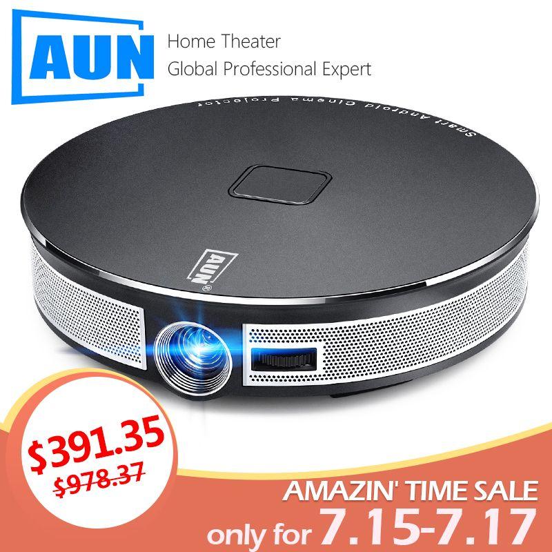 AUN MINI Projektor D8S, 1280x720 P, Android 6.0 (2G + 16G) WIFI. 12000 mAH Batterie, Tragbare 3D beamer. Unterstützung 4 K für home cinema