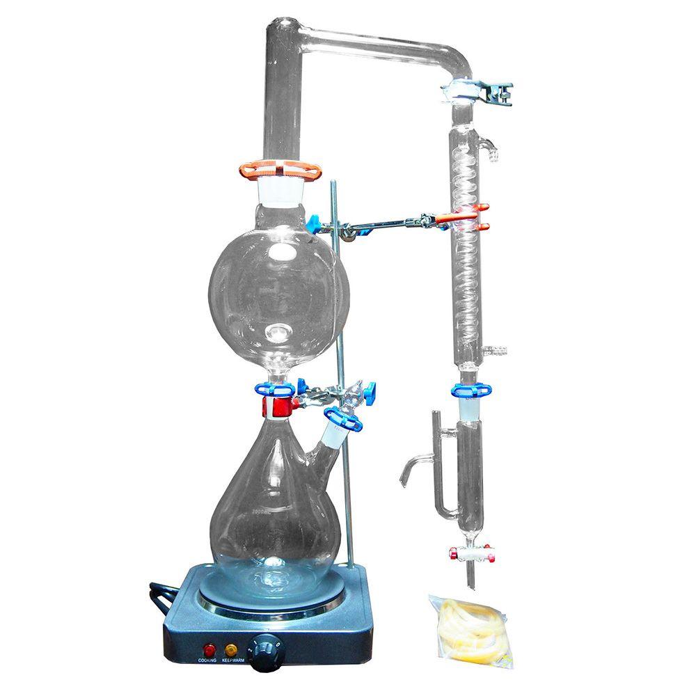 2000 ml Labor Ätherisches Öl Dampf Destillation Gerät Glasgeschirr Kits Wasser Brennerei Reiniger w/Heißer Herd Graham Kondensator