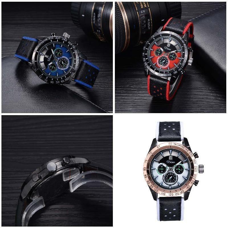 Simple Fashion Business Men Watches PU Leather Strap Dial Clock Quartz Watch Man Casual Wristwatch LL@17