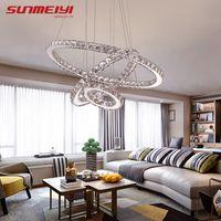 Moderna lámpara de araña de Cristal LED para sala de estar candelabros de Cristal Lustre iluminación colgante accesorios de techo colgante