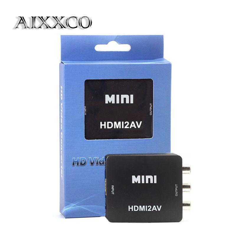 AIXXCO HD 1080 P HDMI vers AV/RCA adaptateur CVBS Mini HDMI2AV convertisseur vidéo boîtier pour HDTV TV PS3 ordinateur PC VCR NTSC
