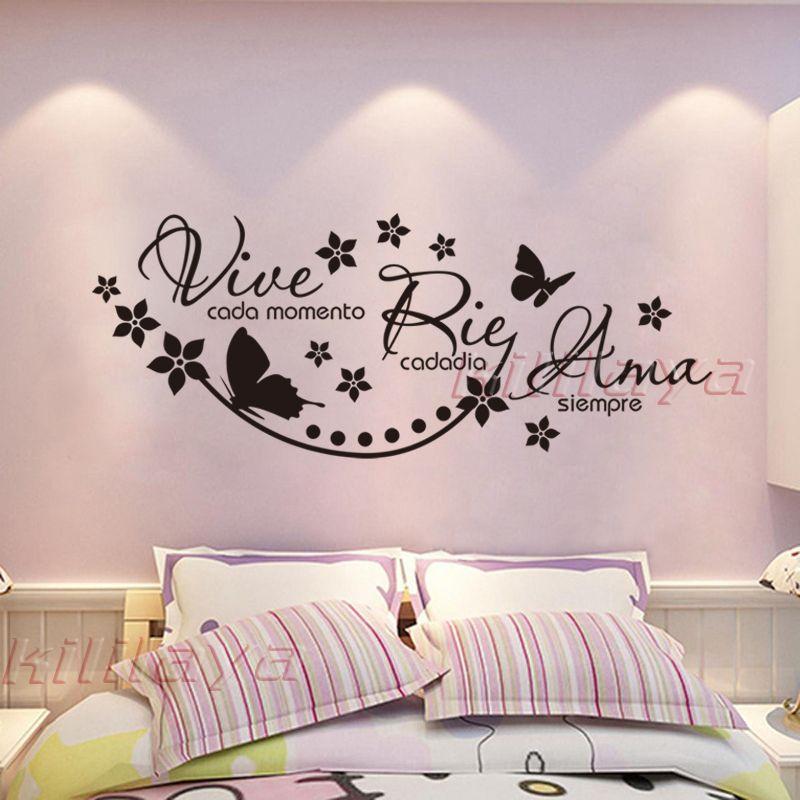 Espagnol Vinyle Stickers Muraux Dire Vive Cada Momento Rie Cada Dia Ama Siempre Sticker Affiche Pour Salon Chambre Maison décor
