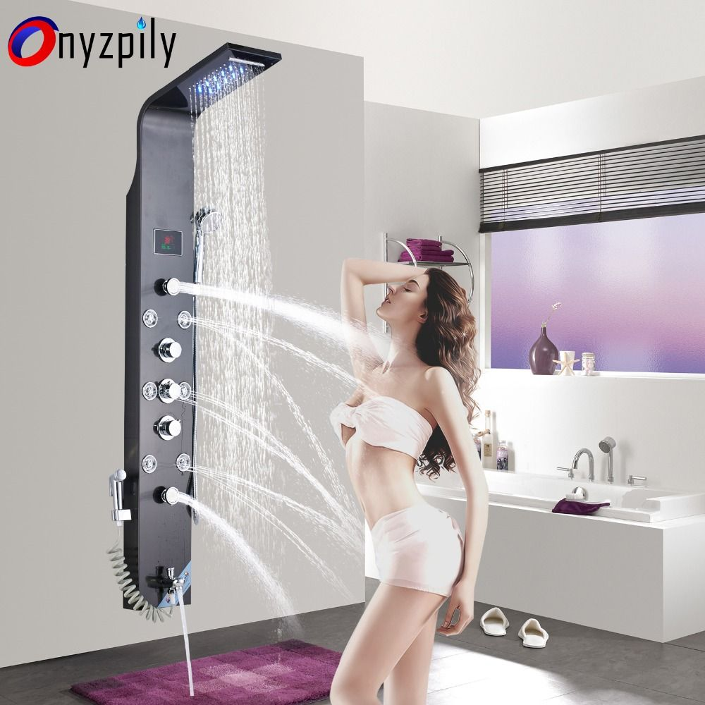 LED 6 FunctionsWaterfall Shower Panel Wall Mounted Bathroom Shower Faucet Shower Panel Column With Hand Sprayer
