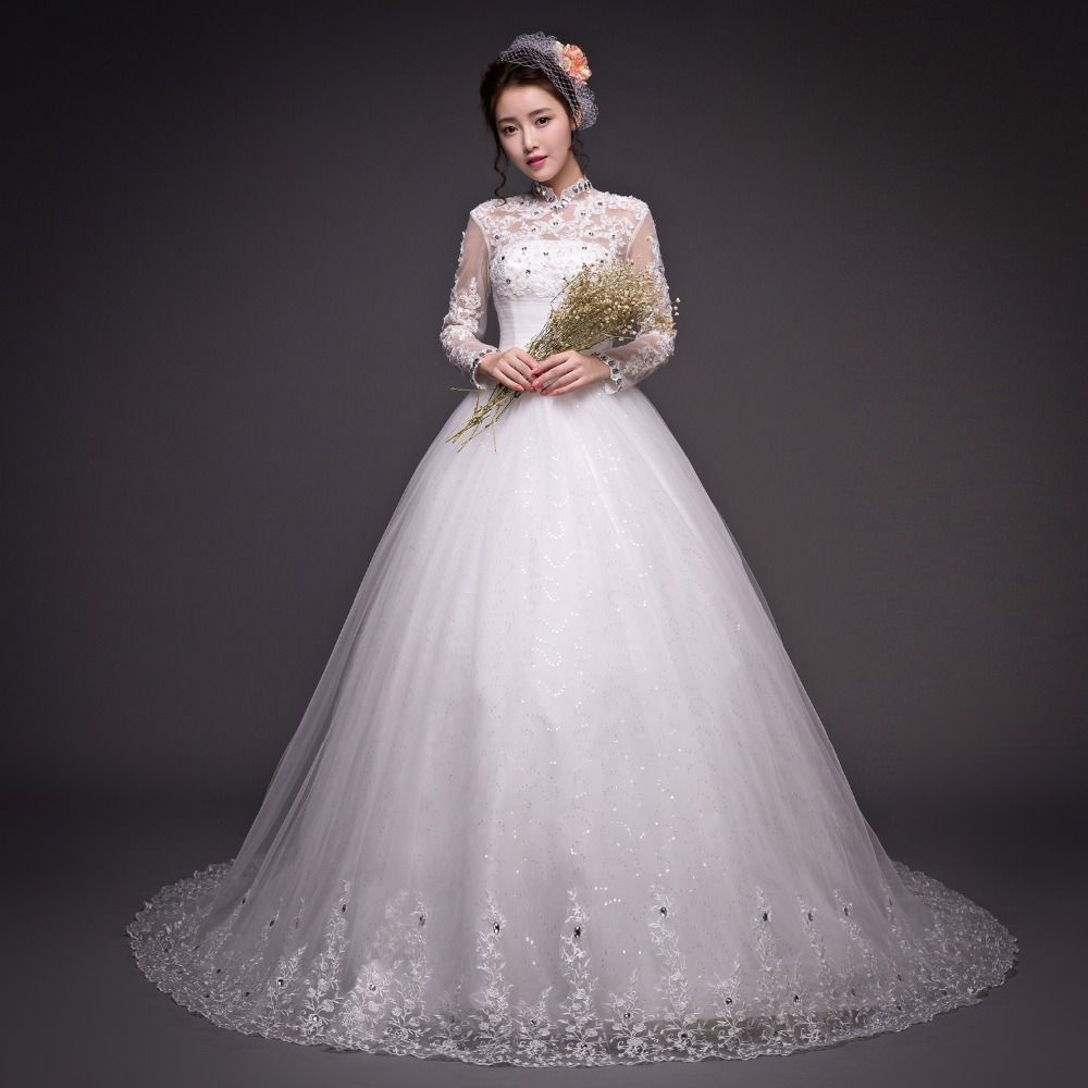 muslim turkey islamic wedding dress long sleeve lace ball gown with cathedral train  2016 new arrival tail bridal bride