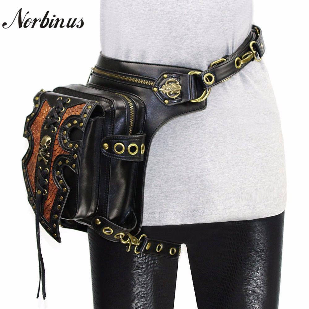 Norbinus Men Waist Bags Motorcycle Drop leg Thigh Holster Bag Women Steampunk Crossbody Bag Skull Hip Belt Bag Travel Pack Pouch