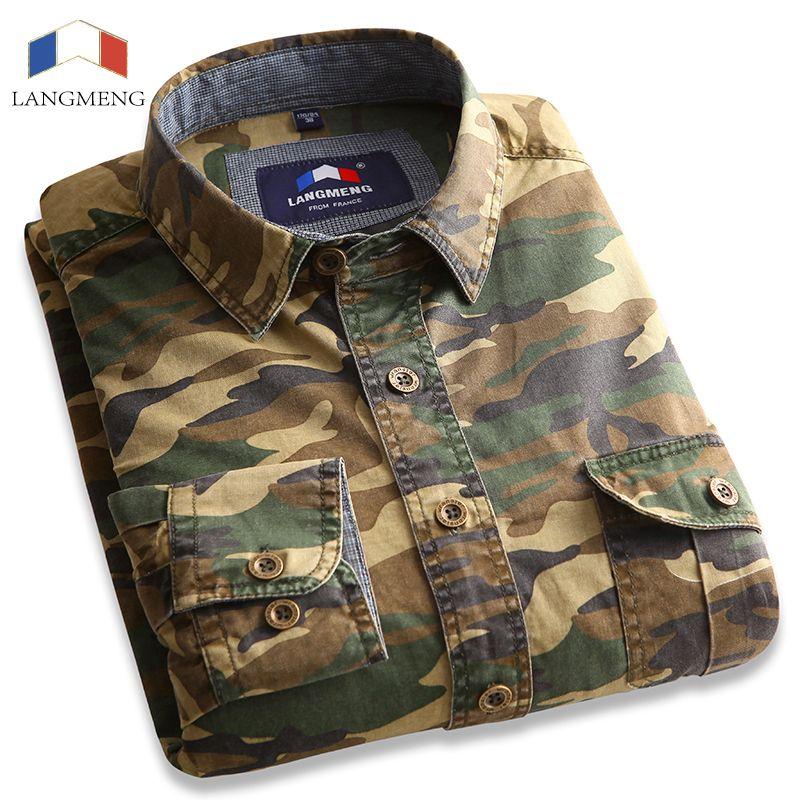 Langmeng 100% Baumwolle Camouflage shirt Männer Atmungs Armee Kampf casual Shirts Outwear Militär Camo Kleidung Meisai mens shirt
