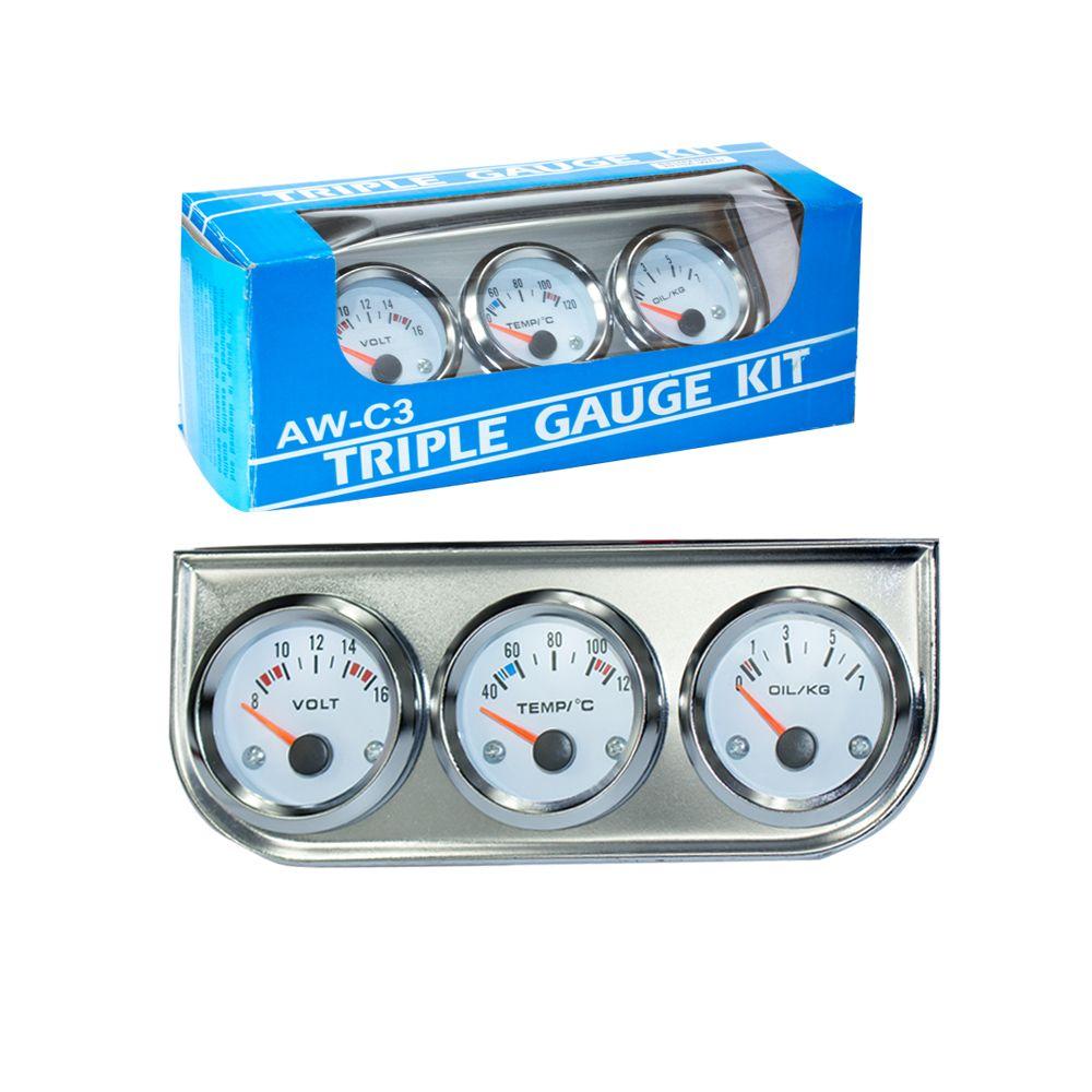Chrome 2''52MM Triple jauge kit jauge de température d'eau + voltmètre + manomètre d'huile avec capteur voiture compteur TT100895