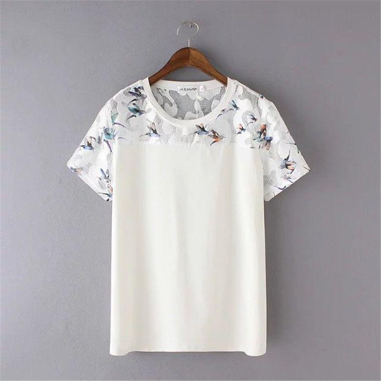 Plus la Taille 3XL Mode Femmes t-shirts D'o-Cou de Femmes D'été À Manches Courtes Imprimer Casual Dentelle Coton Blanc T-shirt Plus La Taille tops