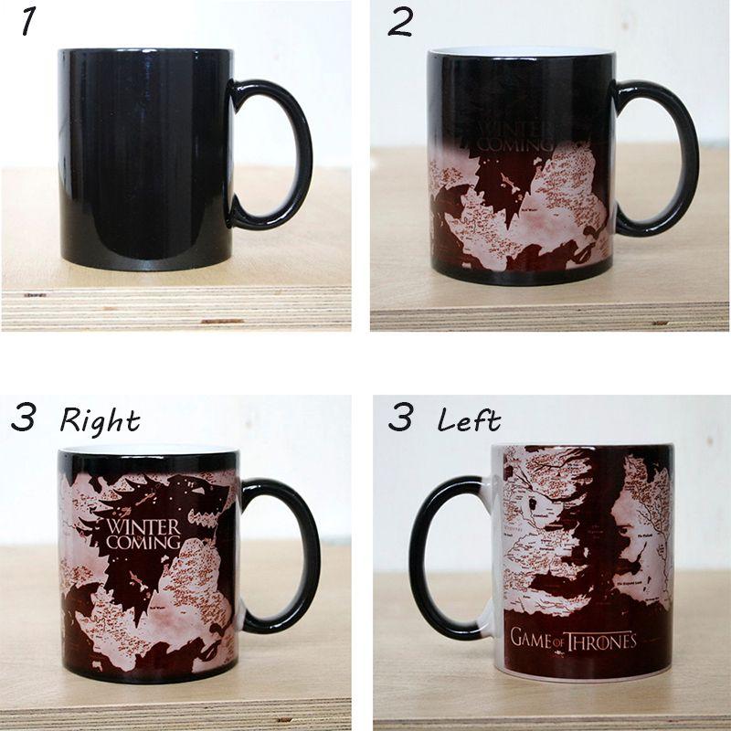 Tasse de décoloration GAME OF THRONES tasse hiver est à venir cartes de loup café lait changement de couleur tasses en céramique créatif surpris cadeaux