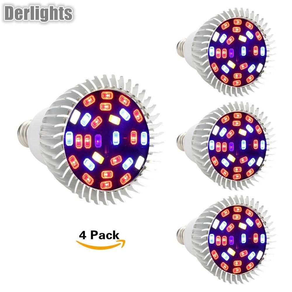 4pcs/Lot 28W Led Grow Light Full Spectrum E27/GU10/E14 Led Plant Lamp AC85-265V Red+Blue+White+UV+IR Indoor Greenhouse Grow Lamp