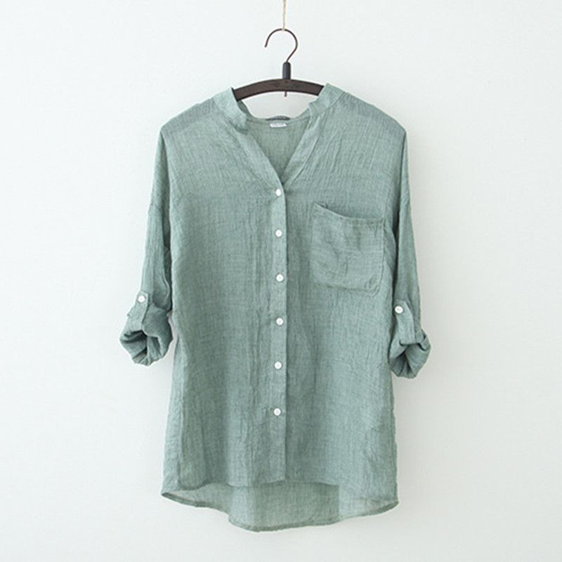 Summer Style Loose Cotton Linen Shirt Comfortable Roll Up Three Quarter Sleeve Loose Blouse Female Solid Color Casual Tops S-2XL