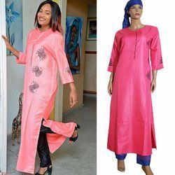 3 pièces ensemble 2018 nouveau mode africaine vêtements pour femmes robes pantalon écharpe ensemble bazin riche robe broderie des vêtements africains