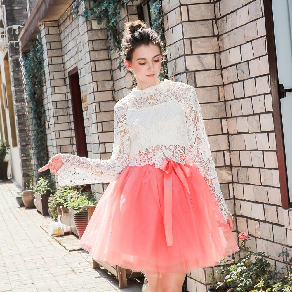 Jupes femmes 7 couches Midi Tulle jupe mode Tutu jupes femmes robe de bal fête jupon 2019 Lolita Faldas Saia
