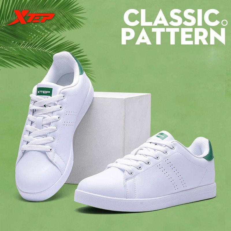 XTEP 2017 women's men's Skateboard Shoes Sneakers Leather walking white stan Shoes for men women free shipping 985318315290