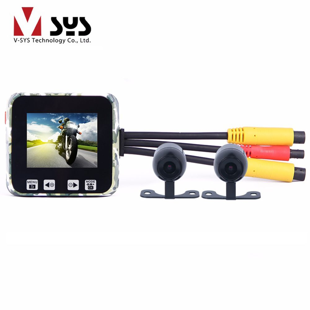 Vsys M6 Super Capacitor Motorbike Dual Real Front Full HD 1080P + Rear 720P for Motorcycle DVR Dash Camera FHD 2.0'' Screen GPS