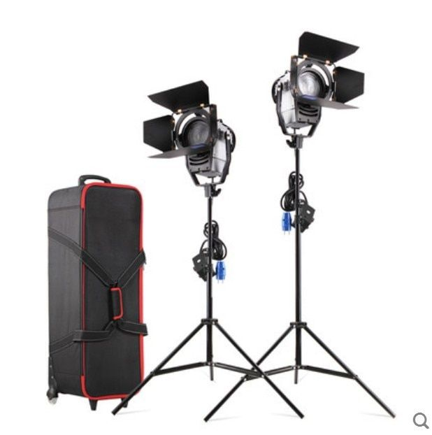 Dimmable Bi-color 2pcs 100W LED Studio Fresnel Spot Light 3200-5500K with Light Stand and Wheel Carry bag for Photo Studio Video