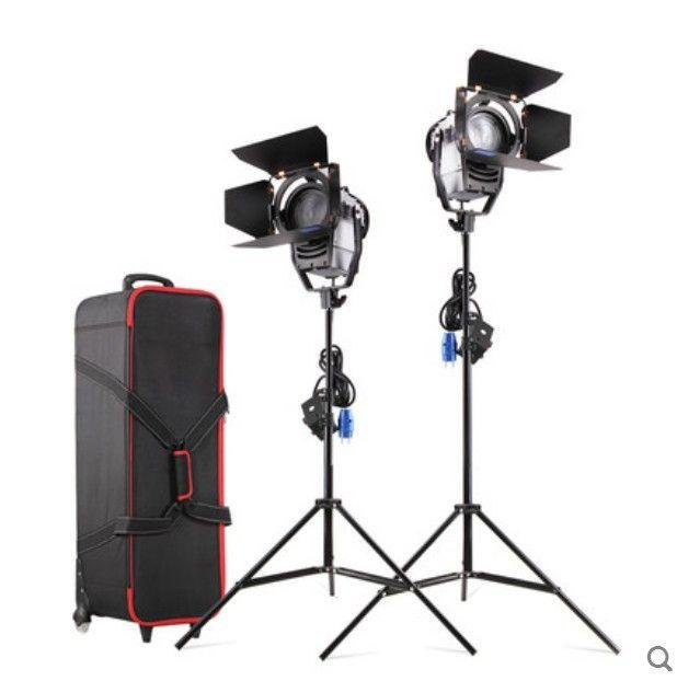 Dimmbare Bi-farbe 2 stücke 100 W LED Studio Fresnel Spot Licht 3200-5500 karat mit Licht Stehen und Rad Tragen tasche für Foto Studio Video