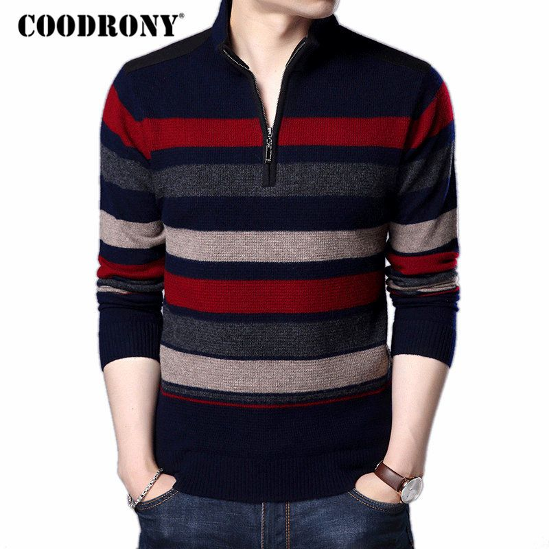 COODRONY Mens Sweaters And Pullovers Pure Merino Wool Sweater Men 2017 Winter Thick Warm Zipper Turtleneck Cashmere Pullover Men